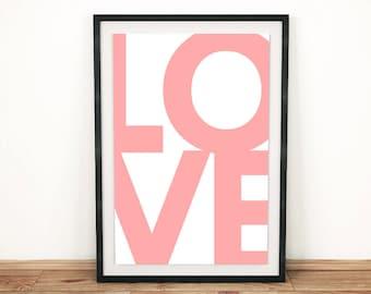 "Printable Art ""LOVE"" | Wall Art | Poster | Letterpress | Wall Hanging | Digital Print | Typography | Wall Decor"