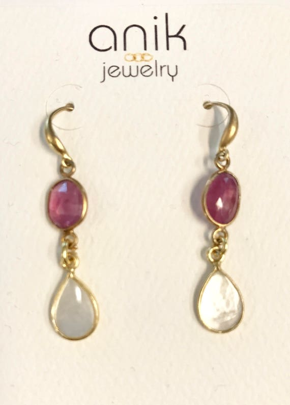 Pink Tourmaline and Mother Pearl Earrings , Gold vermei, 1.5 inches (3.8  cm) total length