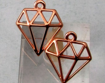 Diamond Charms, Rose Gold, 2 Pieces, RG26