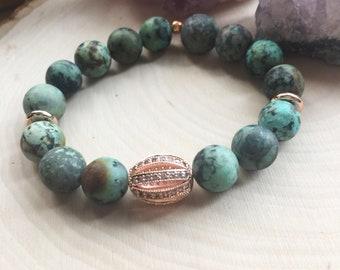 Rose Gold African Turquoise Gemstone Bracelet