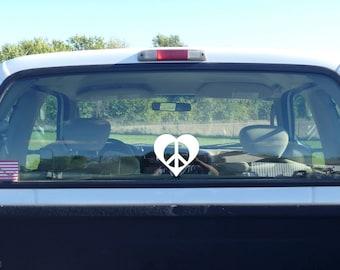 peace heart decal, peace love sticker, peace car decal, heart car decal, peaceful heart, white heart, white peace sign, peace heart vinyl