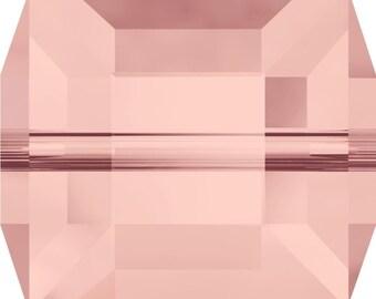Swarovski Crystal Cube Beads 5601 - 4mm 6mm 8mm - Vintage Rose