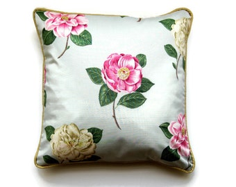 Sanderson Lamorna large roses, mint green, pink, yellow roses, cotton chintz cushion cover, shabby chic, throw pillow cover, homeware decor.