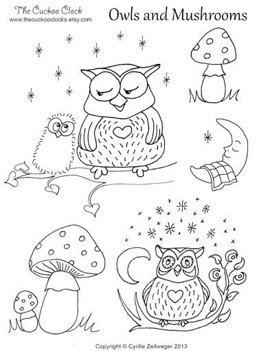 Owls and mushrooms Set Hand Embroidery pattern PDF