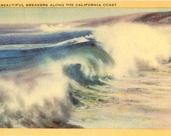 Southern California Coast Beautiful Breakers on Pacific Vintage Postcard (unused)