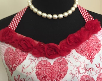 Valentine's Day Hearts and Roses Romantic Vintage Look Flounced Apron