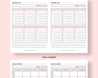B6 Insert, Weekly Meal Planner Printable and Grocery List, B6 Travelers Notebook Insert, B6 Printable Insert, B6 TN, B6 Meal Planning Insert
