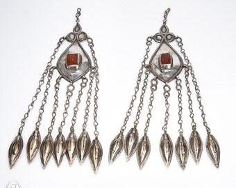 Antique silver Turkmen temporal pendants - silver adornment - carnelian - Turkoman - Central Asia - Tekke - ethnic tribal -  nomadic