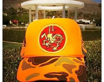 Vintage 70s Embroidered CHEEKY MONKEY Patch stitched on New Snap-back Trucker Cap / Hat