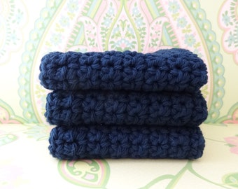 Crochet Navy Blue Wash Cloths/Face Cloths/Bath Cloths/Kitchen Cloths/Dish Cloths made with cotton yarn - Set of 3 - Ready to Ship