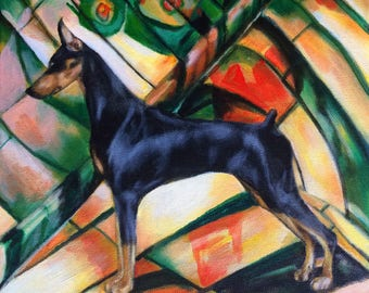 Doberman Pinscher Painting Contemporary Art, Dog Art 11x14, Original Canvas Wall Art, Modern, Whimsical Art Work - Handpainted, No Print
