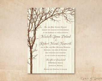 Printable Wedding Invitation - 5x7 - Tree and Branches - Rustic Nature Woodland Twigs Vintage Personalized DIY - Brown Tan Sepia Ivory Cream