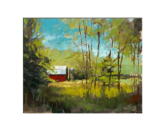 Landscape Art - Matted Print of Original Oil Painting - Farm, Barn, Landscapes, Scenic, Red, For Home, Wall Decoration