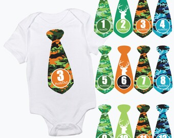 baby boy monthly growth stickers - colorful camoflague ties - green orange & blue camo, hunting stag, military, milestone newborn photo prop
