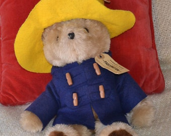 "PADDINGTON BEAR, Meas.141/2"", VINTAGE 1975 Authentic Outfit and Tag. Glassy Eyes, Lg. Black fuzzy Ears, Excellent Condition, Soft and Cuddly"