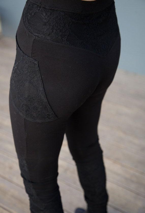 Black Lace Ruffle Leggings Yoga Pants Womens Pants With
