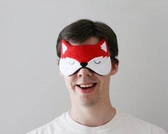 Red Fox Sleep Mask, Soft Fleece, Relaxing Eye Mask, Silk Back, Animal Eyewear