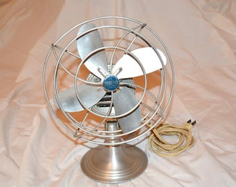 Vintage Industrial Aluminum Table Top Fan, Aluminum Blades, Chrom-Ever Electric Metal Fan