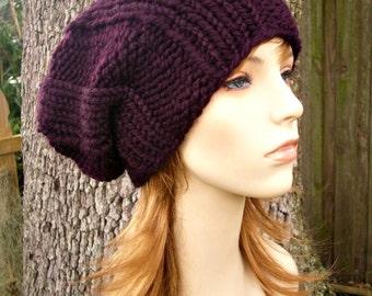 Knit Hat Womens Hat Mens Hat - Watchman Cap Beanie in Eggplant Purple Knit Hat - Purple Hat Purple Beanie Womens Accessories Winter Hat