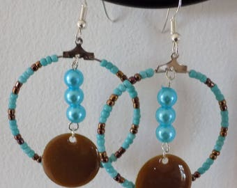 Hoop earrings turquoise and chocolate