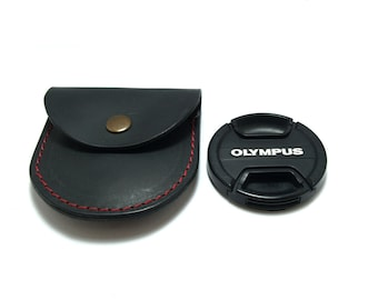 Extremely convenient black leather case bag for your camera lens cap/ body cap/ to fit cap with diameter-58mm  personalized with belt hanger