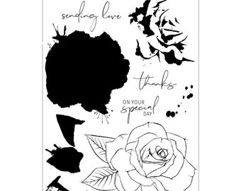 Concord & 9th PAINTED ROSE Clear Stamp Set