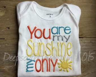 Embroidered Onesie, You are my Sunshine, my only Sunshine, take home outfit, shower gift, 3 month short sleeve, Ready to Ship
