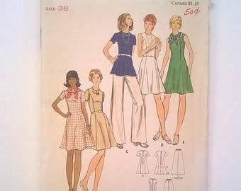 Vintage 1970s Butterick Pattern 3145 - Sleeveless or Short Sleeve Princess Seams Dress, Tunic, &  Pants - Size 16, Bust 38 - Uncut