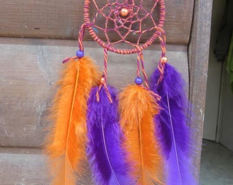 Dream catcher, handmade dreamcatcher, purple and orange, wall decor / actual 20 cm