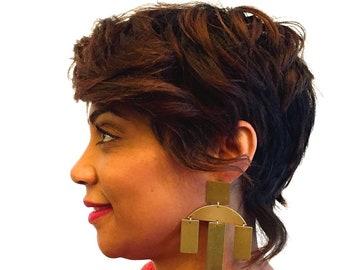 Gold statement earrings / Big earrings / Geometric earrings / Gold Earrings / Boho Jewelry / Minimalist / Tribal / Chunky Earrings  / Zara