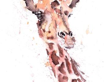 Giraffe Nr. 1 - signierter Druck von meinem original Aquarell-Malerei einer Giraffe