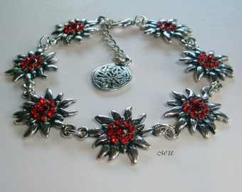 Bracelet  with edelweiss and paste red