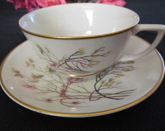 Embassy Cup Saucer Set Vitrified China Made in USA Branches Pattern