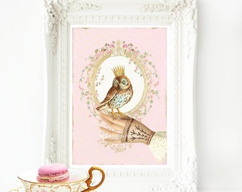 Owl print, crowned baby owl on a Victorian gloved hand. Romantic, pink, nursery print, bedroom, office. A4 giclee print