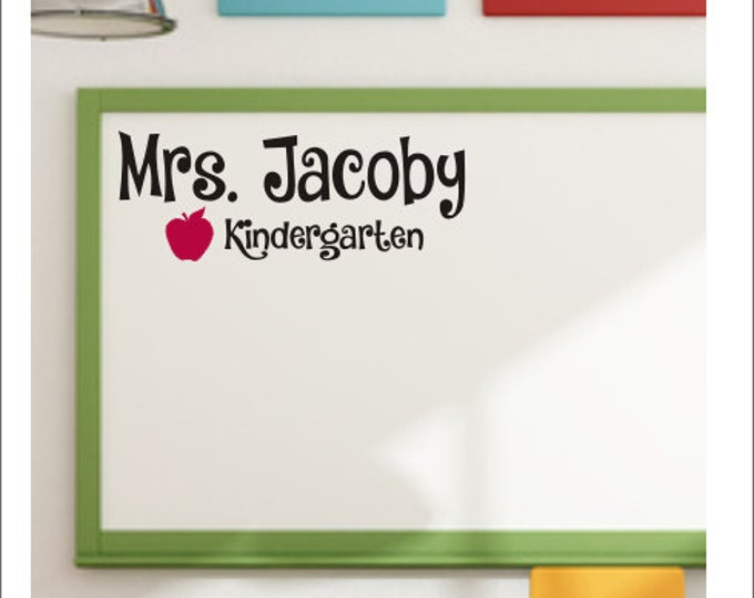 Personalized Teacher Decal Wall Decal Vinyl Decal Classroom Decal Door Decal Teacher Name Decal with Apple School Classroom Decal Decor Kids