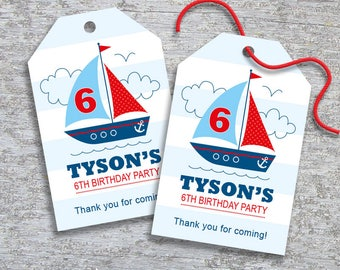 Personalized Sailboat Nautical Party Favor Tags - DIY Printable – Blue Boy (Digital File)