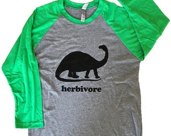 Dinosaur Herbivore 3/4 sleeve Raglan T-Shirt - Vegetarian Vegan Dino Mens Unisex Shirt - (Sizes S, M, L, XL)