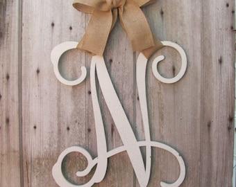 Wooden Initial Door Wreath W/ribbon, Front Door Wreaths , Monogram Door  Hanger, Monogrammed Wreath, Front Door Letters, Outdoor Wreath Decor