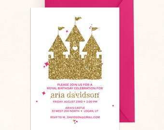 Princess Castle Birthday Invitation / Pink & Gold Invitation / Princess Castle Invitation / Princess Invitation / Pink Princess / Digital