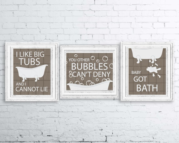 bathroom puns. Bathroom Print Set I Like Big Tubs Sir Mix A Lot Decor Brown Grey White Bath Tub Bathtub Printable Butts Puns S