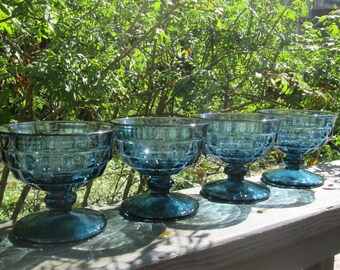 Four Vintage Whitehall Sherbets - Colony Stemmed Dessert Dishes - Riviera Blue Cubist Glassware - 1960s Indiana Glass