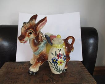 Donkey Burro Ceramic Figurine Set with Oil & Vinegar Cruets