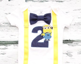 Baby boy second birthday minion Jerry number 2 onesie with bow tie and suspender, Parents' Shirts, boy number 2 onesie boy second birthday