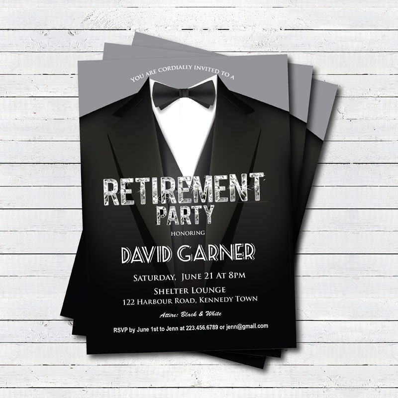 Retirement party invitation for man. Suit and bow tie. Black