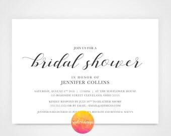 Bridal Shower Invitation/Simple, elegant, classic bridal shower invite/ 5x7 Invite/ black and white bridal invitation **PRINTABLE