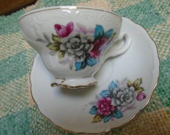 Vintage Footed Teacup And Saucer Floral Pattern