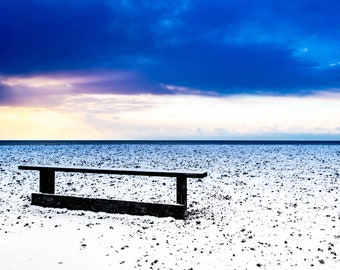 Worthing beachside bench Photo / Poster / Canvas Colour
