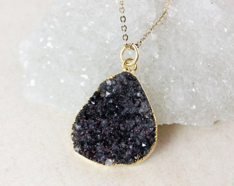 50% OFF SALE - Black Druzy Pendant Necklace – Choose Your Druzy – 14K Gold Fill