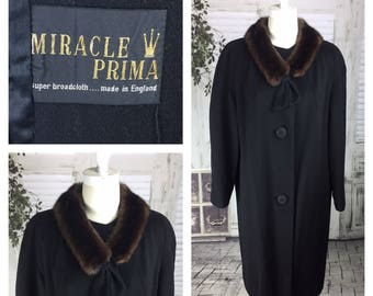 Original Vintage 1950's Miracle Prima Black Swing Coat With Mink Collar Made In England English Made