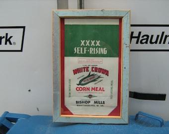 1940s primitive framed old blue paint  5lbs. corn meal bag Bishop mills Martinsburg ,W. VA.
